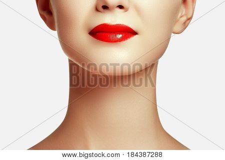 Loseup Shot Of Perfect Lips. Sexy Woman's Mouth. Smiling Young Girl. Natural Plump Full Lips With Br