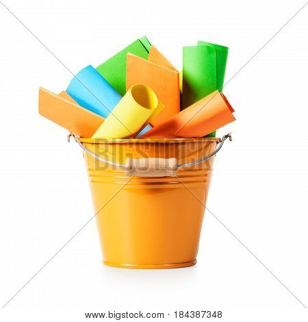 Orange bucket list with colorful paper notes isolated on white background clipping path included