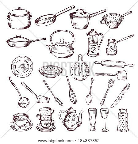 Hand drawn vector illustration of kitchen tools isolate on white background. Sketch of kitchen tools spoon and fork, set of tools for cooking
