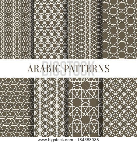 Arabic or asian seamless pattern set from simple geometric shapes. Vector illustration for your personal design project. Collection of pattern textile arabic, vintage classic line pattern