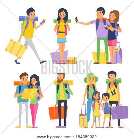 Tourist group of happy people goes to vacation. Couple or family with kids in traveling. Vector illustration. People together on vacation with backpack
