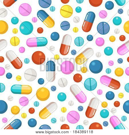 Vector seamless pattern of pills and other pharmaceutical ellements. Pattern with drug pharmaceutical, illustration of pattern pharmacy medicine