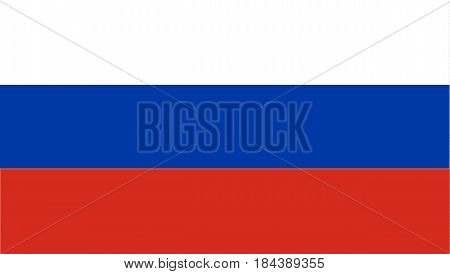 The flag of Russia the National Flag of the Russian Federation is its official state symbol. It is a rectangular panel of three equal horizontal strips white blue and red color.