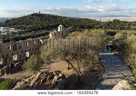 ATHENS, GREECE - JANUARY 20 2017:  Ruins of Odeon of Herodes Atticus in the Acropolis of Athens, Attica, Greece
