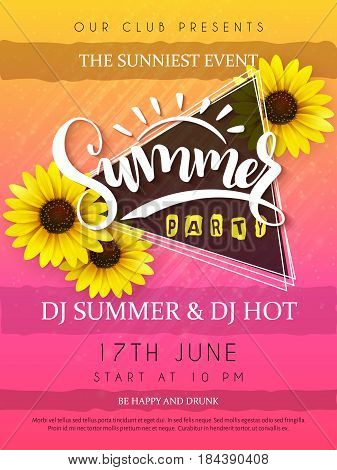 vector illustration of summer party poster with triangle frame and sunflower flowers and hand lettering text - summer.