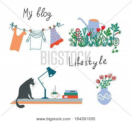 Blog or lifestyle design elements vector graphic illustration