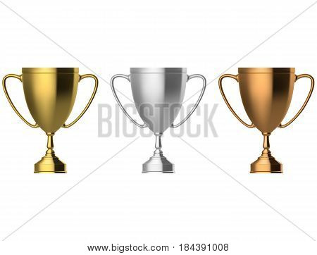 Trophy cup set isolated on white background