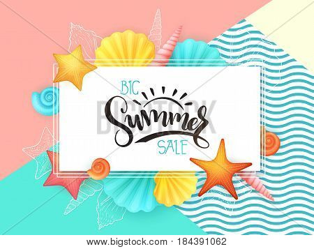 vector hand lettering summer sale text surrounded with detailed flat and doodle seashells.