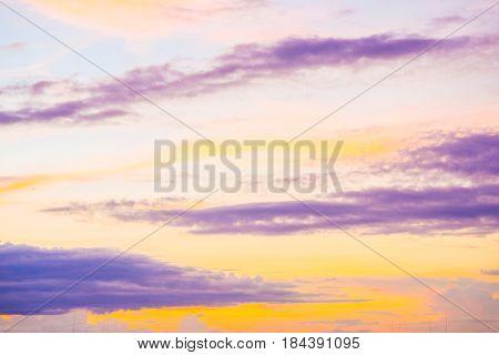 Colourful majestic twilight sunset cloud sky landscape