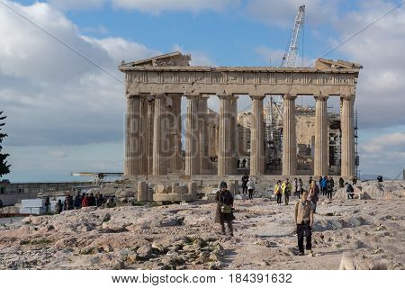 ATHENS, GREECE - JANUARY 20 2017:  Amazing view of The Parthenon in the Acropolis of Athens, Attica, Greece