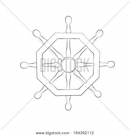 Ship helm. Isolated on white background. Sketch illustration.