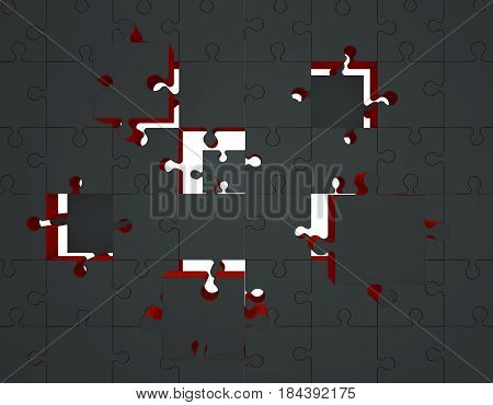 Jigsaw puzzle. Disconnected puzzle. 3D rendering illustration.