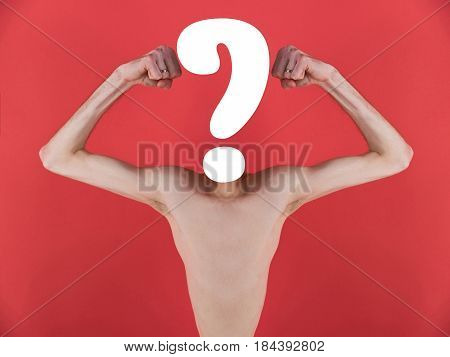 question mark white color in place of human head with naked skinny male torso and arms with slim muscular biceps triceps on red background. Mirror effect. Doubt or uncertainty. Problem solving