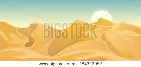 Desert landscape illustration with dune. Vector nature horizontal background