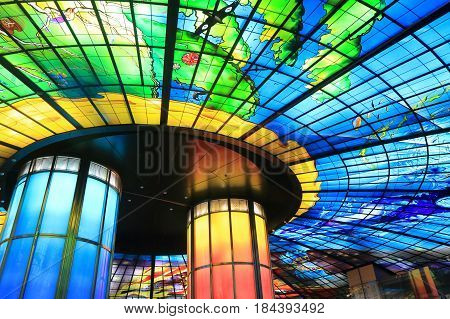 KAOHSIUNG TAIWAN - DECEMBER 13, 2016: Dorm of light at Formosa Boulevard station. Dorm of light is the largest glass work in the world.