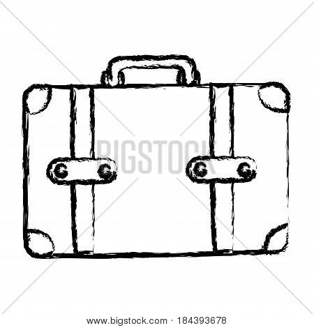 monochrome blurred silhouette of leather suitcase vector illustration