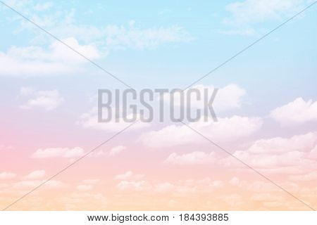 Fabulous background Sky with clouds. Beautiful Delicate Pink Wallpaper. Magical Backdrop with the artistic photo processing. Wonderful Horizontal Image with Copy Space. Sweet dreams texture.