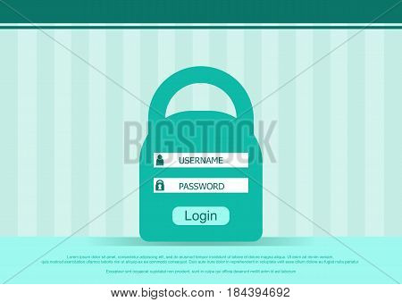 Vector login box form, interface page - username and password. Flat background. Vector illustration