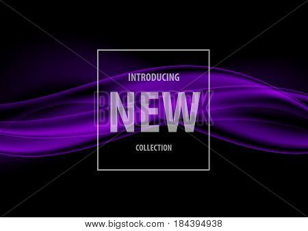 Abstract dark elegant art design template with purple smooth dynamic wavy lines in soft style on black background. Vector illustration