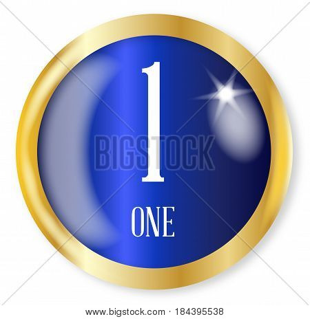 1 for one button from the NATO phonetic alphabet/number with a gold metal circular border over a white background