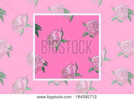 Summer vintage seamless pattern with pions flowers and leaves in pink color, natural greeting card.Vector Seamless Pattern with example how to use in design and decor. Illustration.