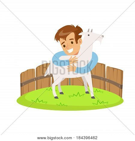 Happy little boy embracing a white goat in a mini zoo. Colorful cartoon character vector Illustration isolated on a white background