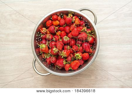 Fresh Strawberries In A Colander, Top View