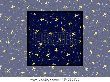 Flat background with Planes with Trajectories on dark blue color.Vector Seamless pattern with example how to use in design and decor. Vector illustration.