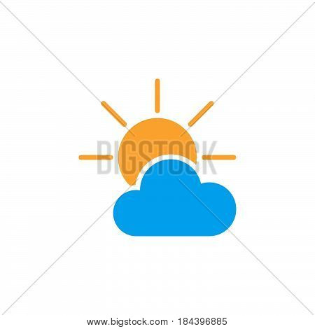 Partially Sunny weather Icon isolated on white background .