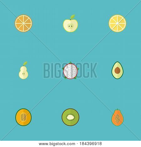 Flat Citrus, Duchess, Alligator Pear And Other Vector Elements. Set Of Fruit Flat Symbols Also Includes Duchess, Muskmelon, Papaya Objects.