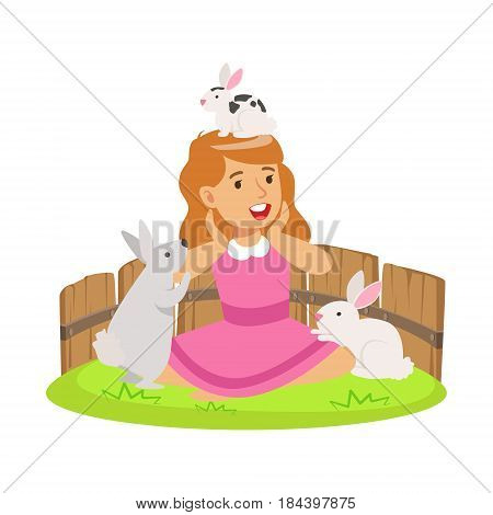 Happy smiling girl playing with small rabbits in a mini zoo. Colorful cartoon character vector Illustration isolated on a white background