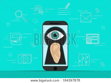 Smart phone with ear and eye on creen.Background with simple line style icons.The concept of security and protection of electronic virtual information in gadgets and social networks of the Internet..Vector illustration.