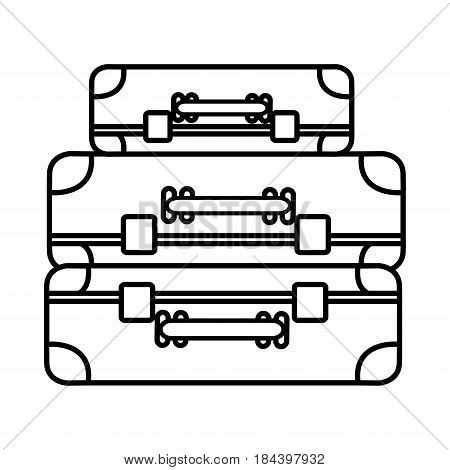 monochrome silhouette with set of suitcases vector illustration