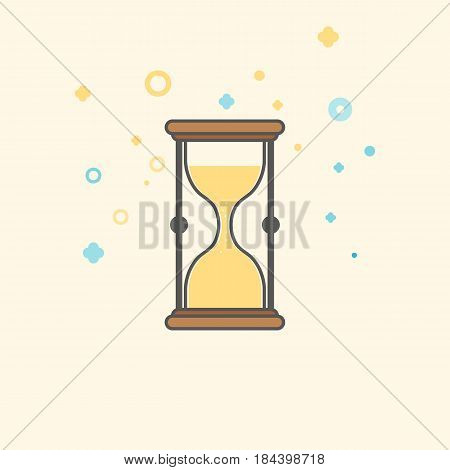 Simple Businessand  Finance Vector FlatIcon. Classic hourglass as symbol of quick service. Flat style icon.