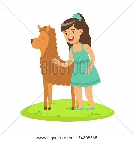 Girl standing on green grass and petting fluffy alpaca. Colorful cartoon character vector Illustration isolated on a white background