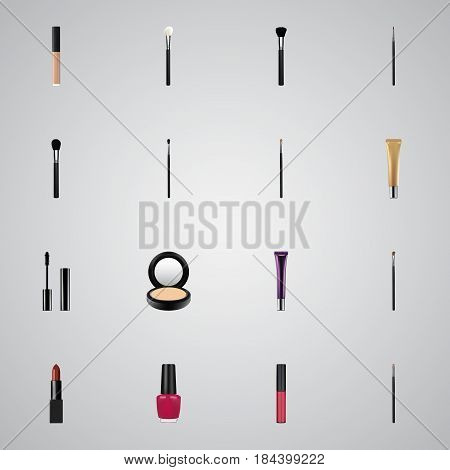 Realistic Pomade, Brow Makeup Tool, Contour Style Kit And Other Vector Elements. Set Of Maquillage Realistic Symbols Also Includes Highlight, Blusher, Varnish Objects.