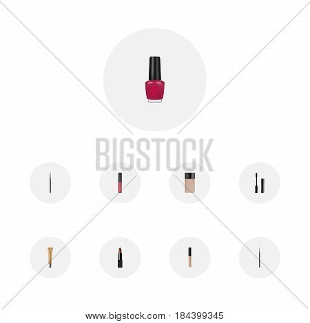 Realistic Liquid Lipstick, Collagen Tube, Varnish And Other Vector Elements. Set Of Greasepaint Realistic Symbols Also Includes Cosmetic, Eye, Lips Objects.