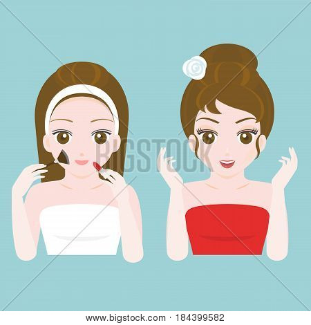 woman before and after make up in towel and red dress, flat design vector