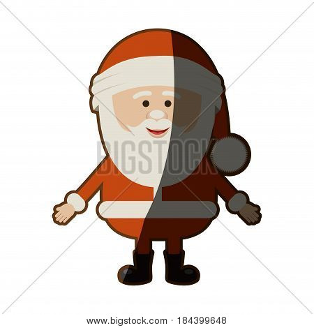 colorful silhouette of santa claus waiting for hug with half shadow vector illustration