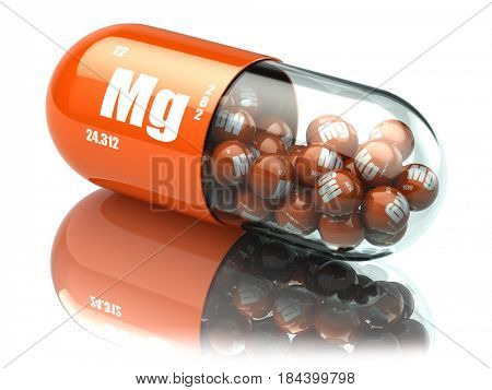 Manganese magnesium Mg element pill. Dietary supplements. Vitamin capsules. 3d illustration