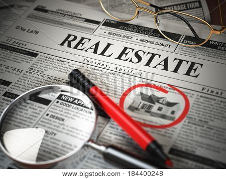 Real estate classifieds ads newspaper  and magnifying glass. 3d illustration