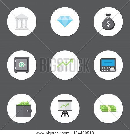 Flat Billfold, Strongbox, Jewel Gem And Other Vector Elements. Set Of Commerce Flat Symbols Also Includes Secure, Purse, Jewel Objects.