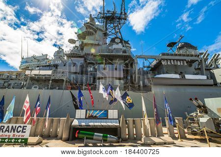 HONOLULU, OAHU, HAWAII, UNITED STATES - AUGUST 21, 2016:Radio and radar tower of the warship Missouri at Pearl Harbor in Honolulu Hawaii, Oahu island. National historic and patriotic landmark.