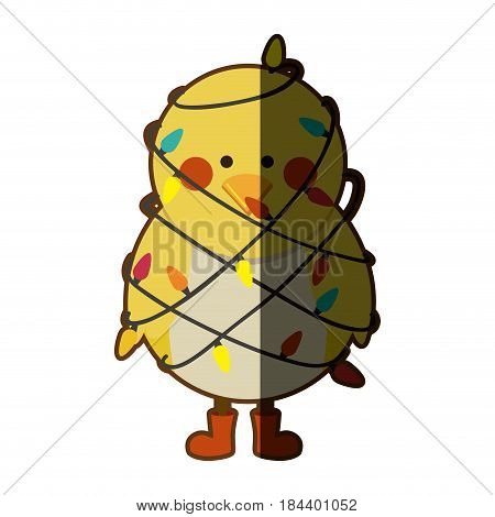 silhouette of chicken with boots and involved in cord lights christmas with half shadow vector illustration