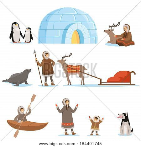 Eskimo characters in traditional clothing and their arctic animals. Life in the far north. Set of colorful cartoon detailed vector Illustrations isolated on white background