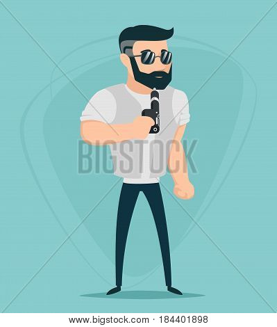 Vape Smoking Geek Hipster Casual Character Icon Cartoon Vector Poster illustration