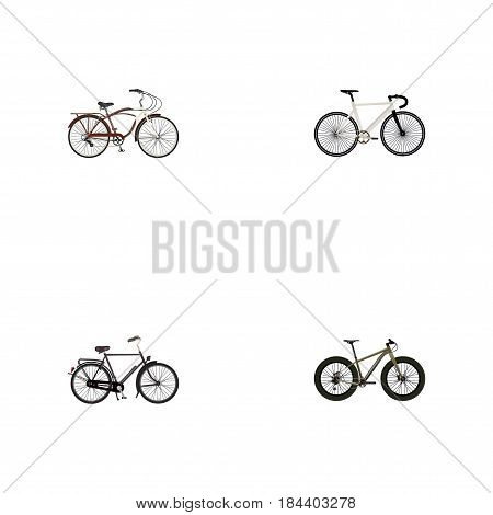Realistic Journey Bike, Road Velocity, Bmx And Other Vector Elements. Set Of Bicycle Realistic Symbols Also Includes Dutch, Track, Velocipede Objects.