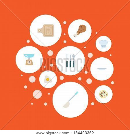 Flat Kitchen Measurement, Fried Poultry, Omelette And Other Vector Elements. Set Of Food Flat Symbols Also Includes Food, Scales, Pizza Objects.