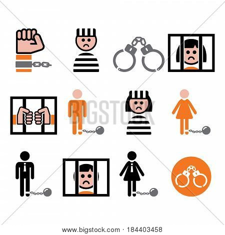 Prisoner, crime, slavery vector icons set on white