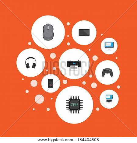 Flat Laptop, Monitor, Printing Machine And Other Vector Elements. Set Of Laptop Flat Symbols Also Includes Microprocessor, Unit, Mouse Objects.